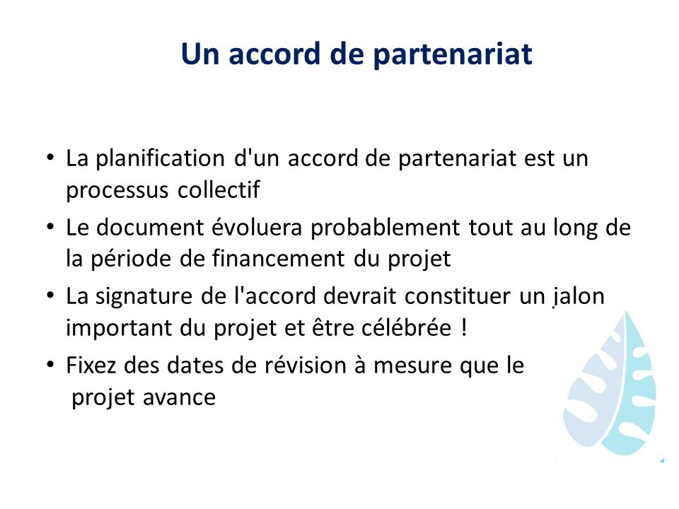 Un accord de partenariat