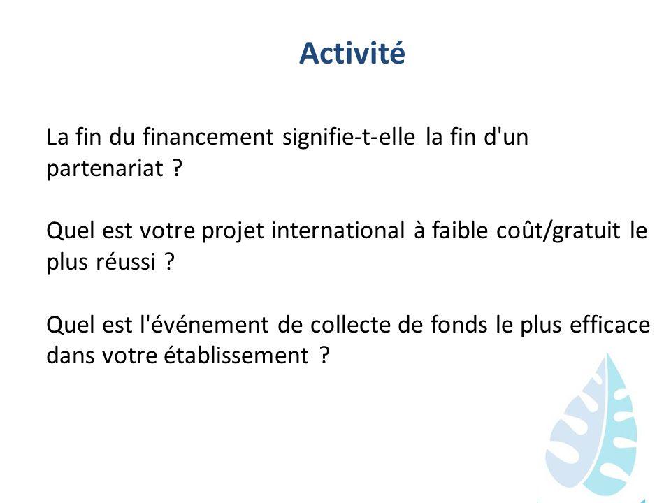 Activité La fin du financement signifie-t-elle la fin d un partenariat Quel est votre projet international à faible coût/gratuit le plus réussi