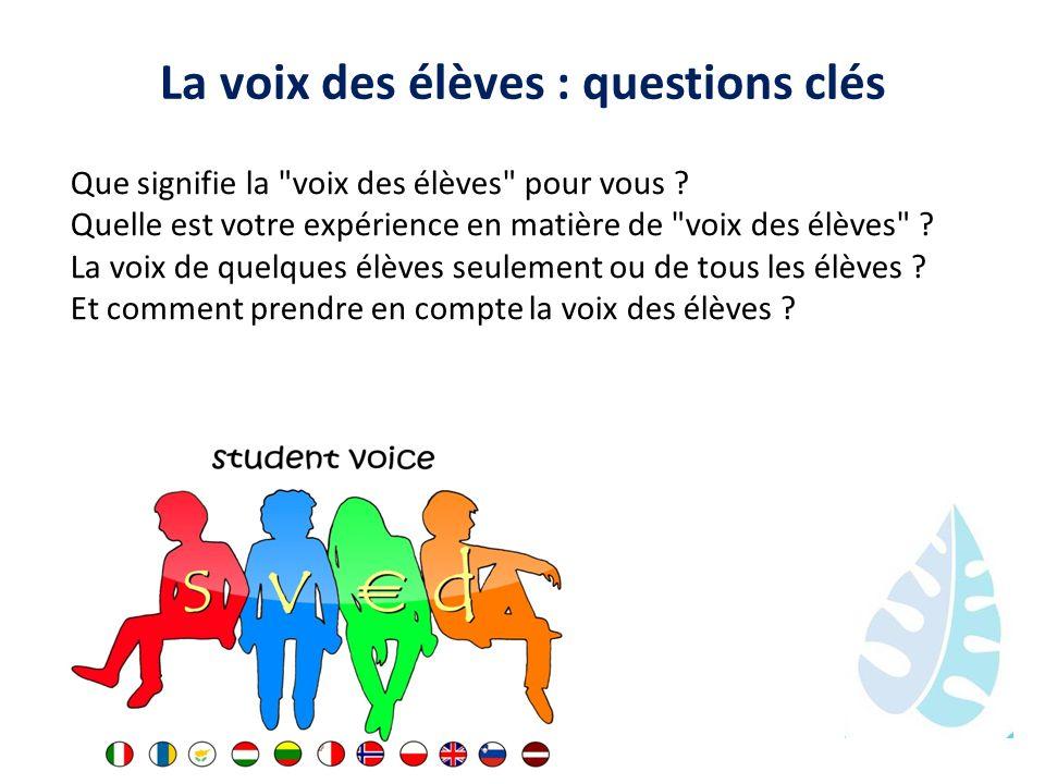 La voix des élèves : questions clés