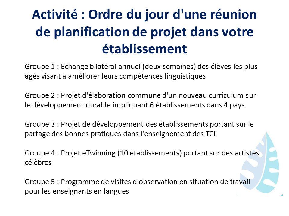 Activité : Ordre du jour d une réunion de planification de projet dans votre établissement