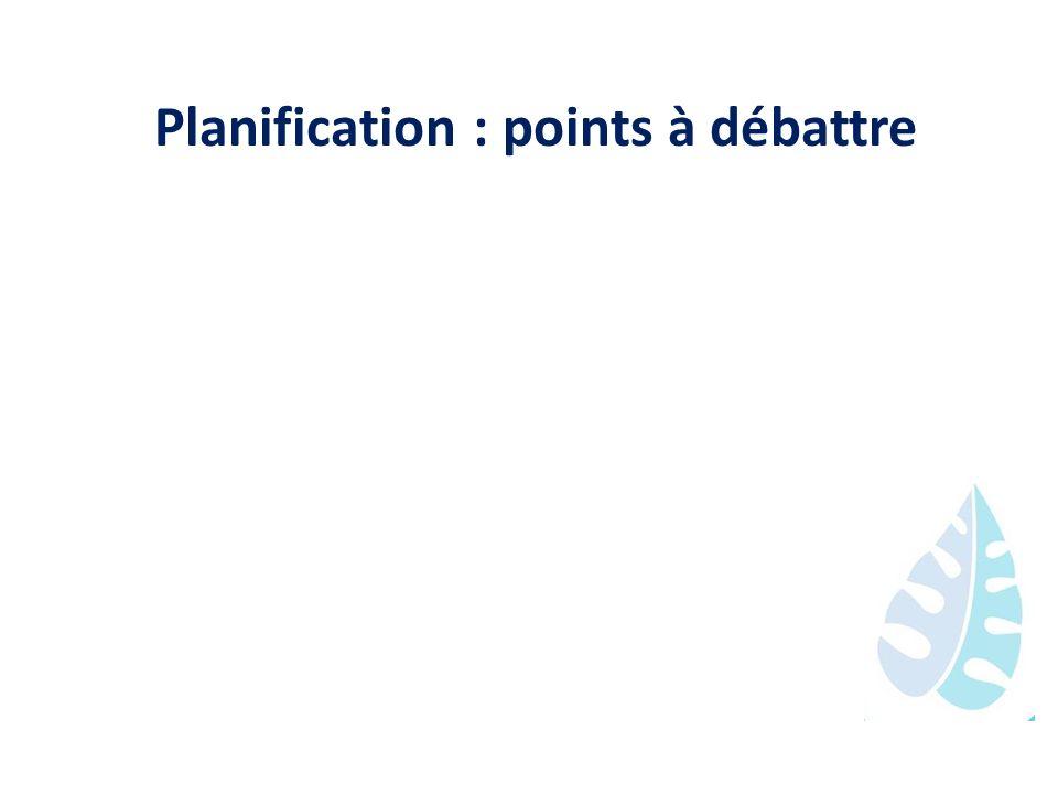 Planification : points à débattre