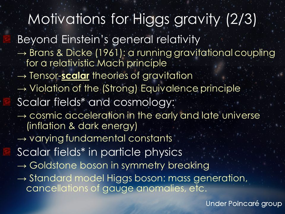 Motivations for Higgs gravity (2/3)