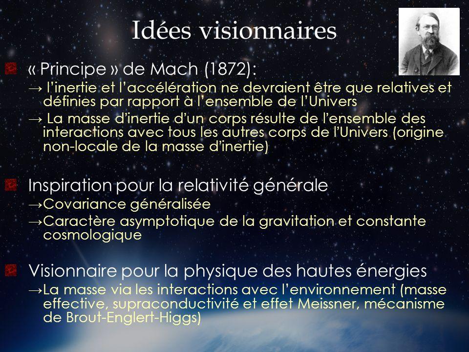 Idées visionnaires « Principe » de Mach (1872):
