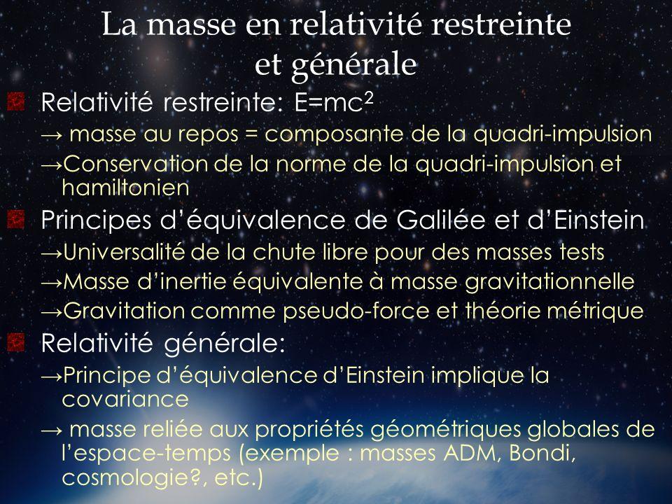 La masse en relativité restreinte et générale