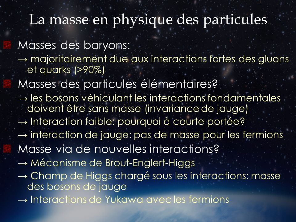 La masse en physique des particules