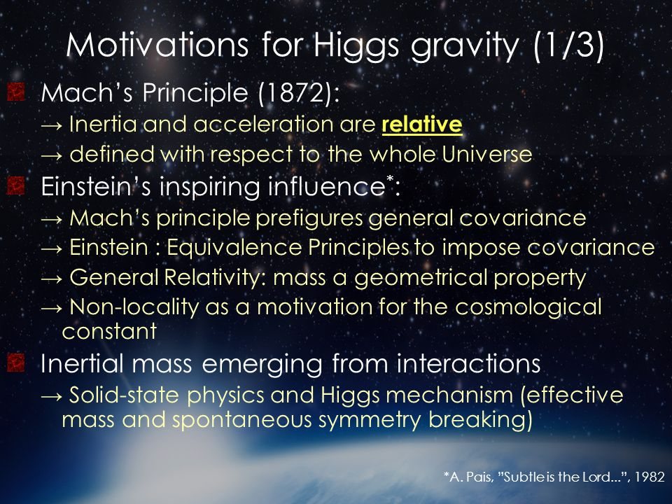 Motivations for Higgs gravity (1/3)