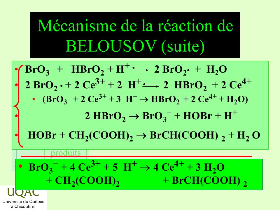 Mécanisme de la réaction de BELOUSOV (suite)