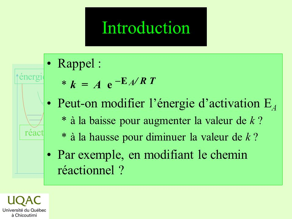 Introduction Rappel : Peut-on modifier l'énergie d'activation EA