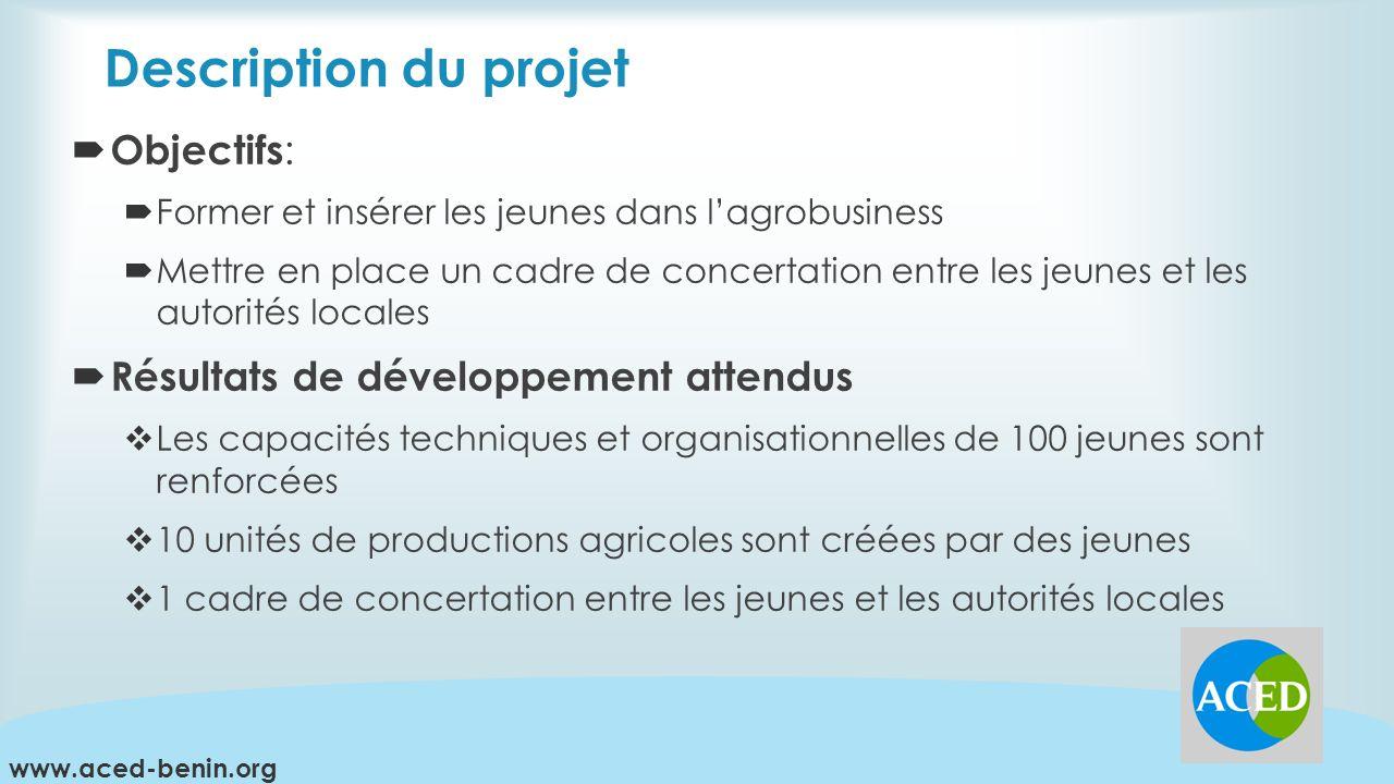 Description du projet Objectifs: Résultats de développement attendus