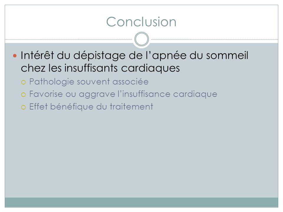 Conclusion Intérêt du dépistage de l'apnée du sommeil chez les insuffisants cardiaques. Pathologie souvent associée.