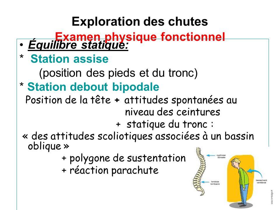 Exploration des chutes Examen physique fonctionnel