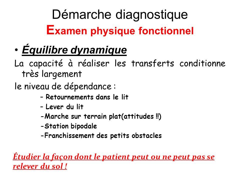 Démarche diagnostique Examen physique fonctionnel