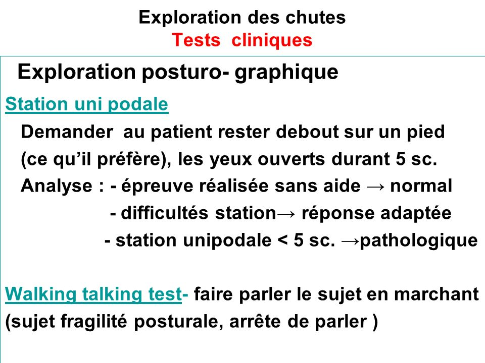Exploration des chutes Tests cliniques