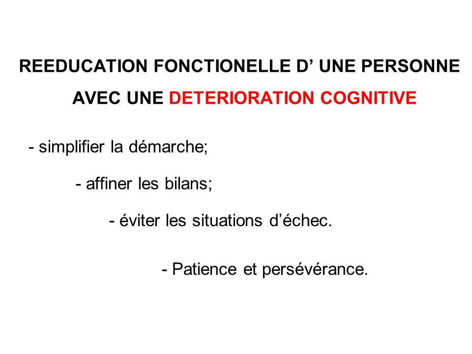REEDUCATION FONCTIONELLE D' UNE PERSONNE AVEC UNE DETERIORATION COGNITIVE