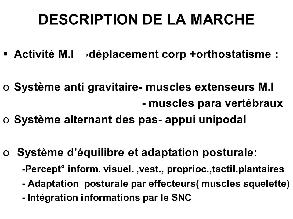 DESCRIPTION DE LA MARCHE