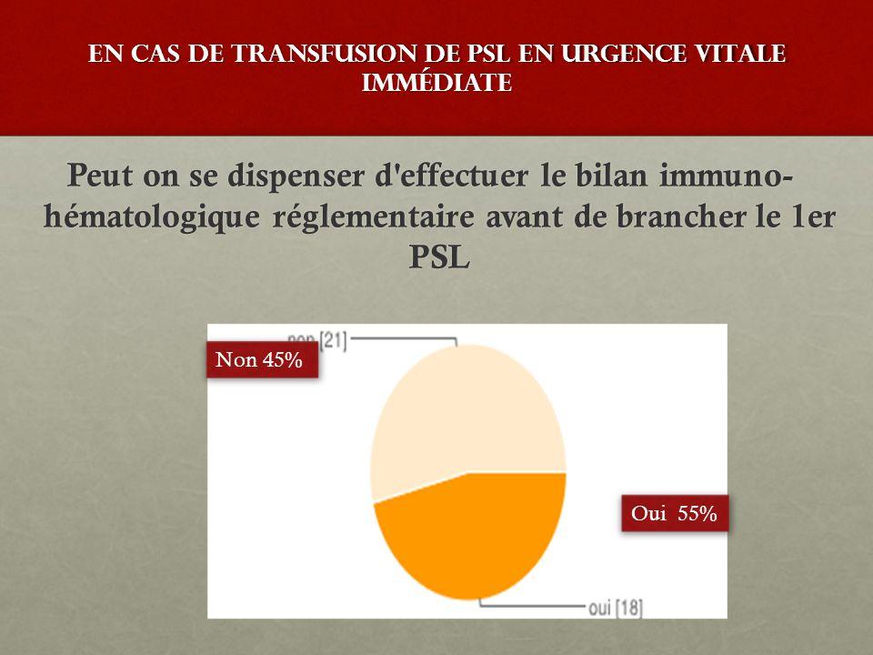 En cas de transfusion de PSL en urgence vitale immédiate