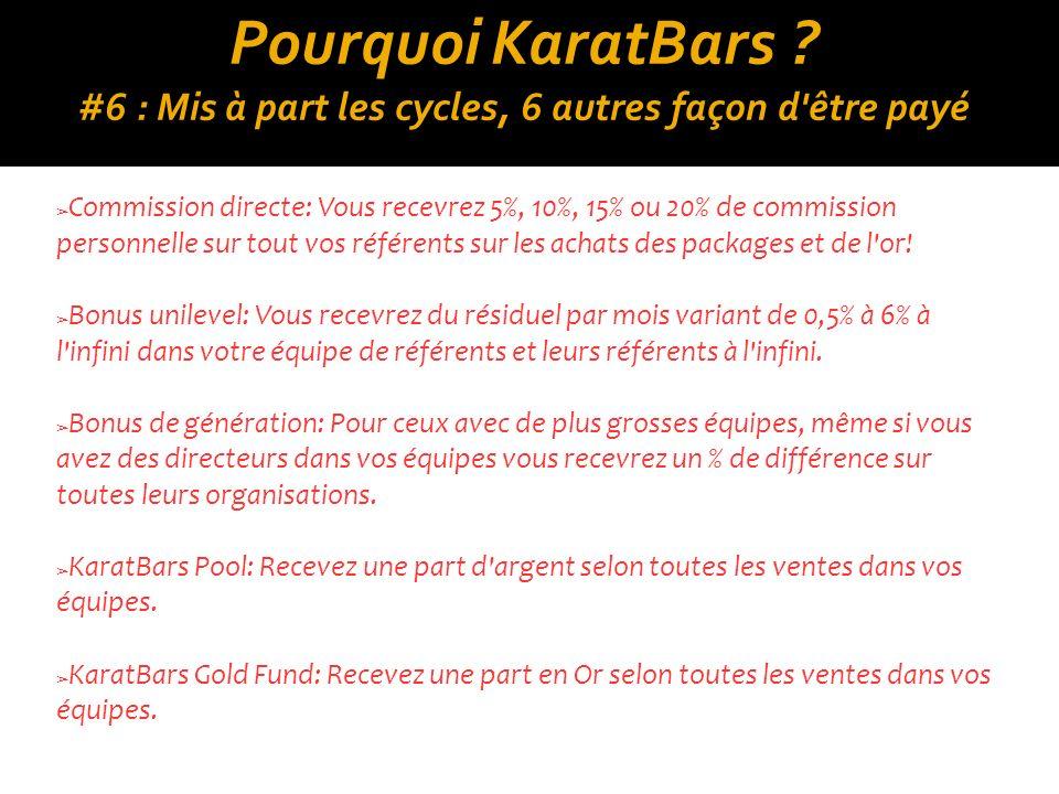Pourquoi KaratBars #6 : Mis à part les cycles, 6 autres façon d être payé
