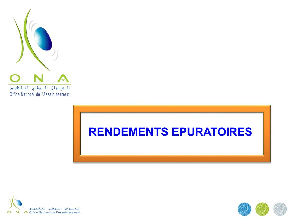 RENDEMENTS EPURATOIRES
