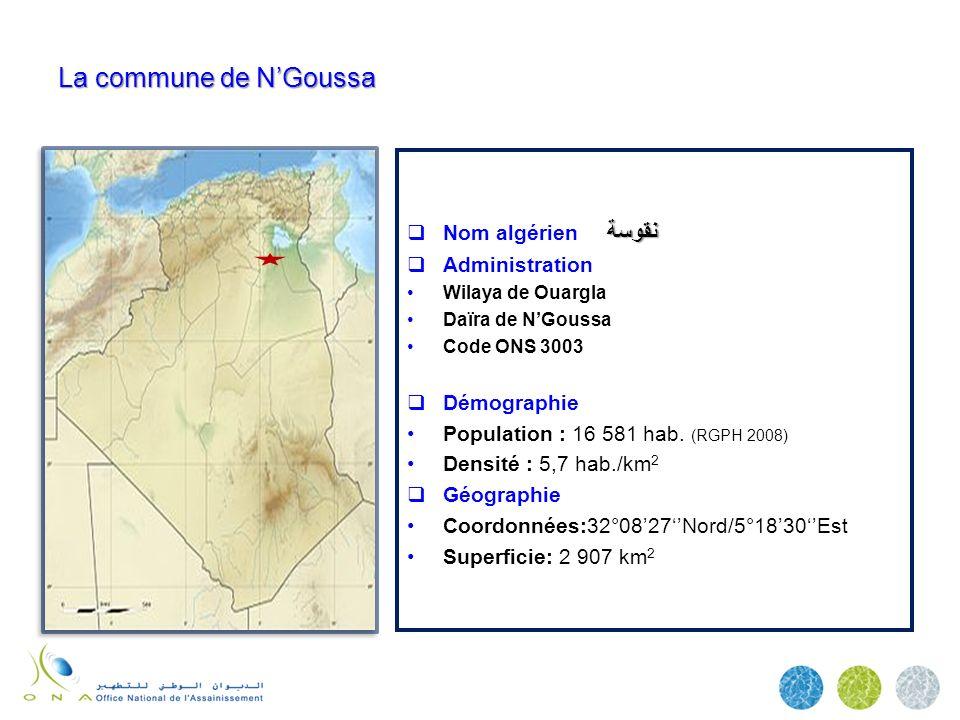 La commune de N'Goussa Nom algérien نقوسة Administration Démographie