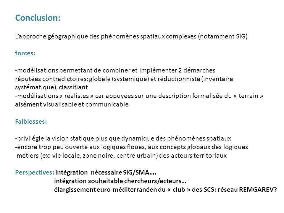 Conclusion: L'approche géographique des phénomènes spatiaux complexes (notamment SIG) forces: