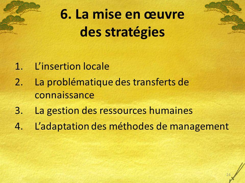 6. La mise en œuvre des stratégies