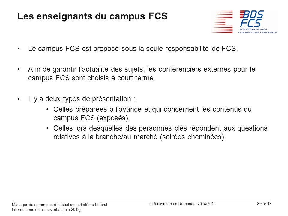 Les enseignants du campus FCS