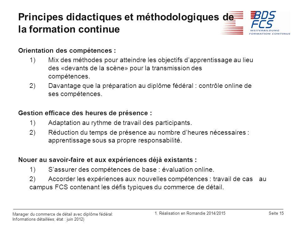 Principes didactiques et méthodologiques de la formation continue