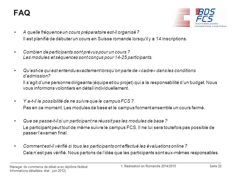 FAQ A quelle fréquence un cours préparatoire est-il organisé