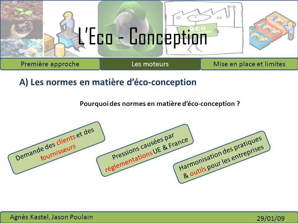 A) Les normes en matière d'éco-conception