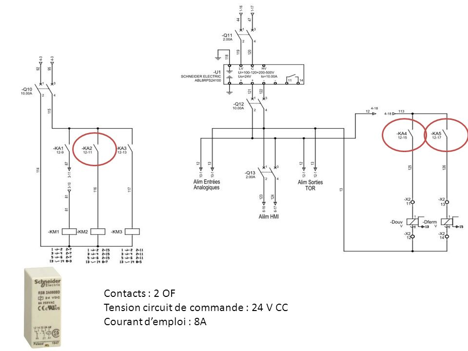 Contacts : 2 OF Tension circuit de commande : 24 V CC Courant d'emploi : 8A