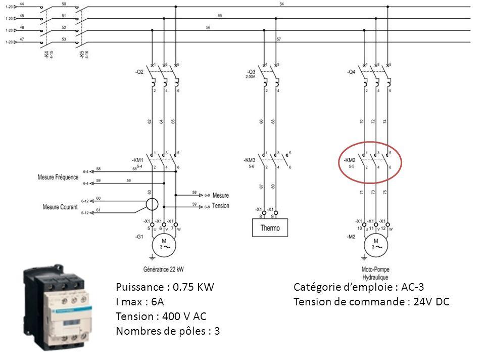 Puissance : 0.75 KW Catégorie d'emploie : AC-3. I max : 6A. Tension de commande : 24V DC. Tension : 400 V AC.