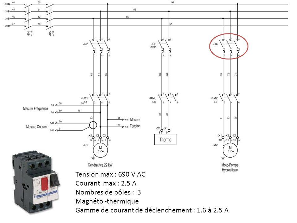 Tension max : 690 V AC Courant max : 2.5 A. Nombres de pôles : 3.