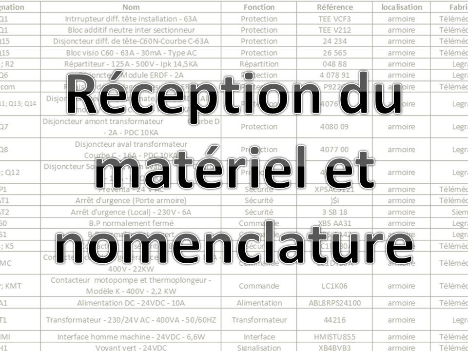Réception du matériel et nomenclature