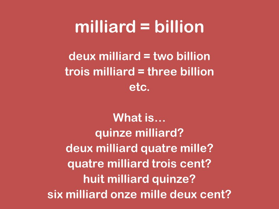 milliard = billion