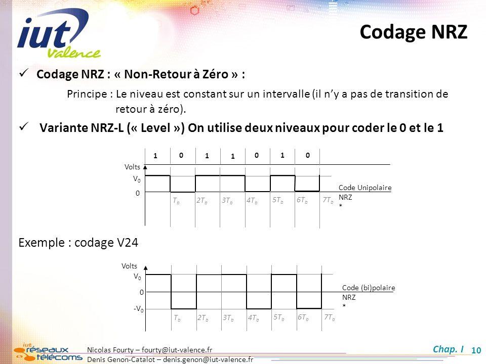 Codage NRZ Codage NRZ : « Non-Retour à Zéro » :