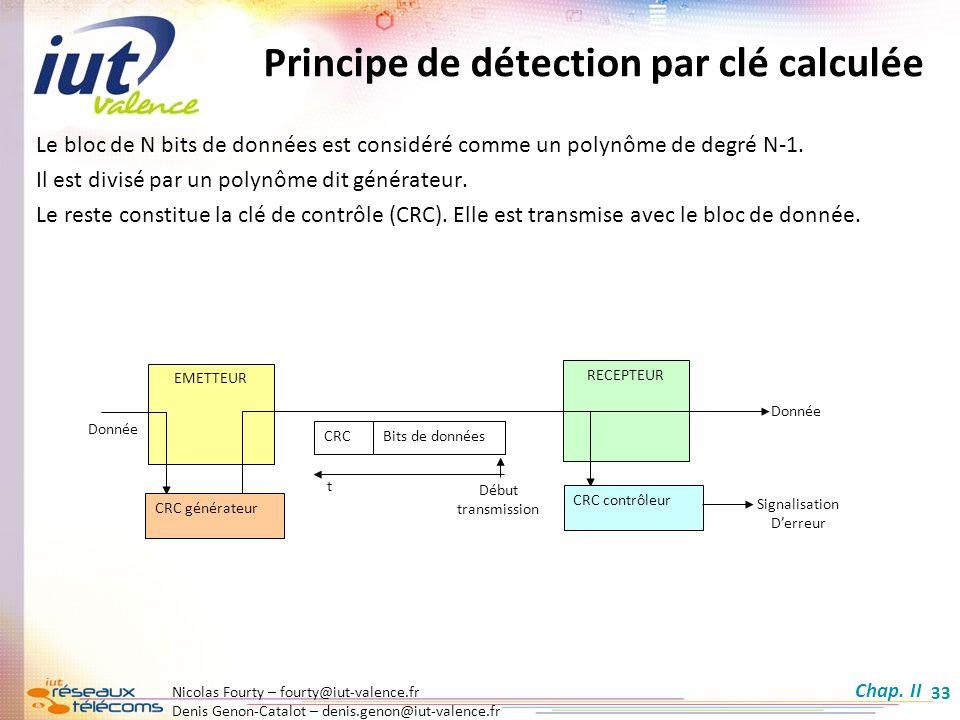 Principe de détection par clé calculée