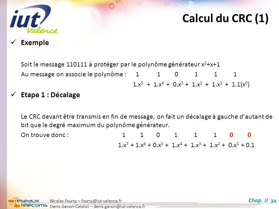 Calcul du CRC (1) Exemple Etape 1 : Décalage