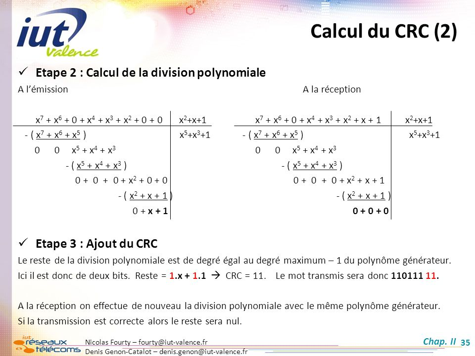Calcul du CRC (2) Etape 2 : Calcul de la division polynomiale