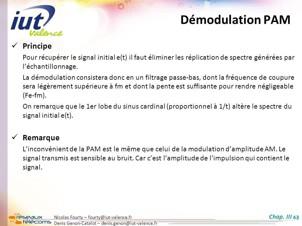 Démodulation PAM Principe Remarque