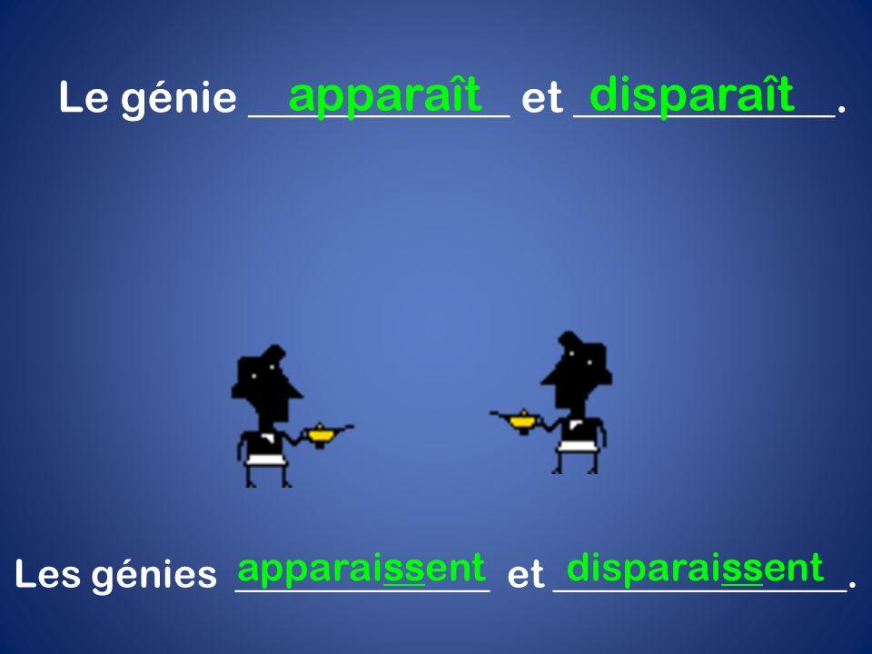 apparaît disparaît Le génie ____________ et ____________. apparaissent