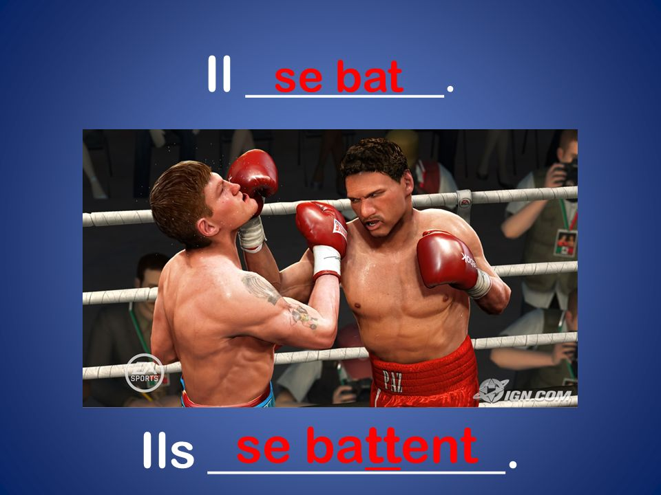 Il ________. se bat se battent Ils ____________.