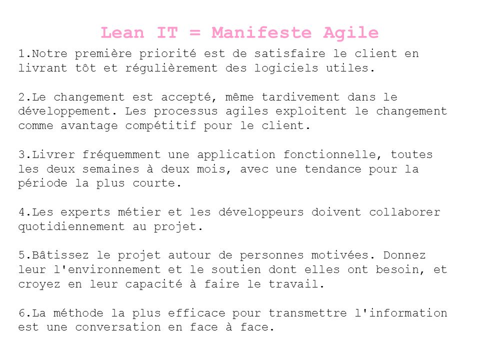 Lean IT = Manifeste Agile