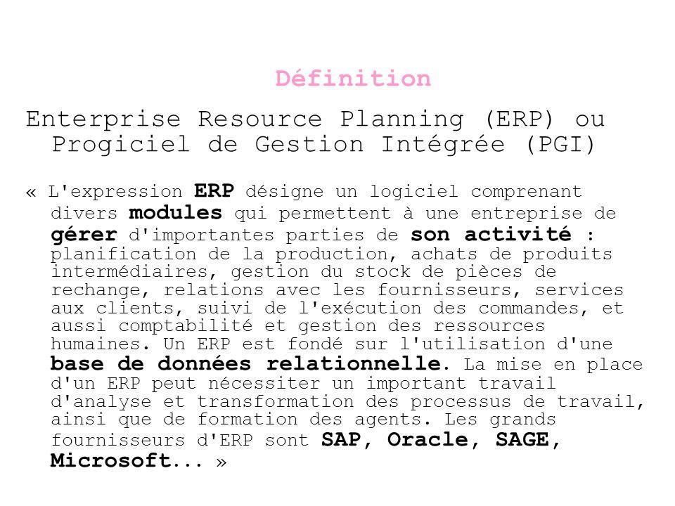 Définition Enterprise Resource Planning (ERP) ou Progiciel de Gestion Intégrée (PGI)