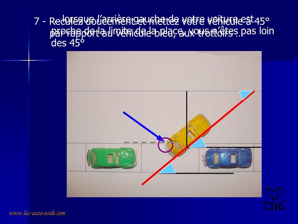 7 - Reculez doucement et mettez votre véhicule à 45°