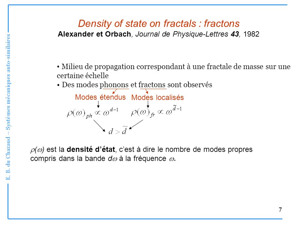 Density of state on fractals : fractons