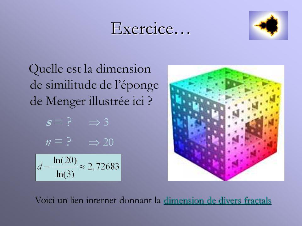 Exercice… Quelle est la dimension de similitude de l'éponge de Menger illustrée ici s =  3. n =