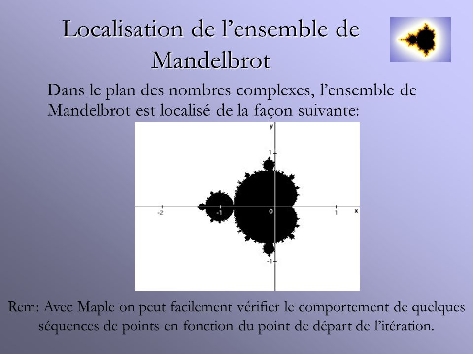 Localisation de l'ensemble de Mandelbrot