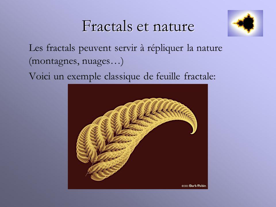 Fractals et nature Les fractals peuvent servir à répliquer la nature (montagnes, nuages…) Voici un exemple classique de feuille fractale: