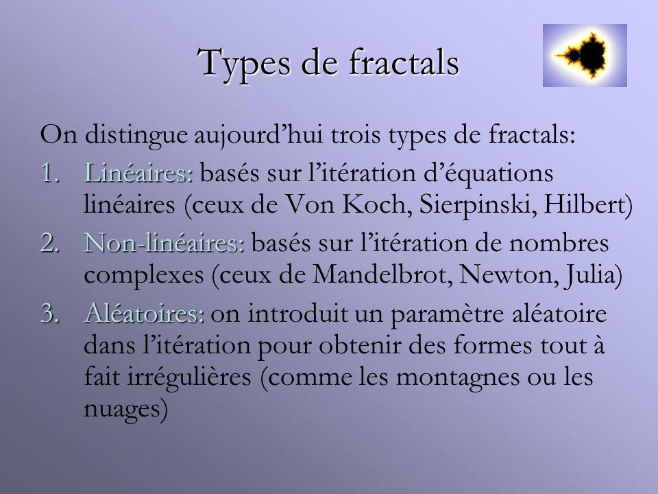 Types de fractals On distingue aujourd'hui trois types de fractals: