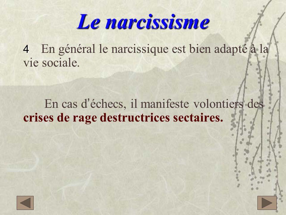 Le narcissisme 4 En général le narcissique est bien adapté à la vie sociale.